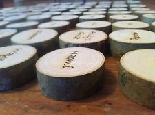 Wedding Favours Personalised Name Place Slices Rustic Discs 🇬🇧 Supplier :)