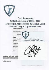 CHRIS ARMSTRONG TOTTENHAM HOTSPUR 1995-2001 ORIGINAL HAND SIGNED CUTTING/CARD