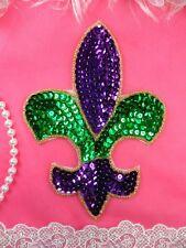 """Fleur De Lis Applique Mardi Gras Beaded Sequin Iron On 6"""" (XR355L-mg)"""