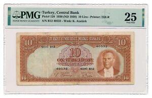 TURKEY banknote 10 Lira 1938 PMG VF 25 Very Fine