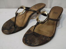 Impo Giles Women's Snake Print Leather & Brass Shoes Slip on Flip Flops heels 8