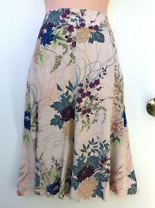 LAURA ASHLEY Lovely Floaty Floral Panel & Pockets Midi Length Skirt sz UK 12