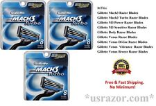 24 Gillette Mach3 TURBO Cartridges 3 blades Razor Refills Shaver 100% Authentic
