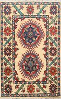Geometric Ivory Super Kazak Oriental Area Rug Wool Hand-Knotted 2x3 ft Carpet