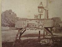 ANTIQUE 1870s CASKETS COFFINS BOTTOM UP POSTER FOLK ART BOW NH STEREOVIEW PHOTO
