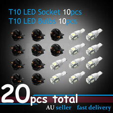 10Set T10 White LED + Socket Car Instrument Wedge Dash Side Light Dashboard Bulb