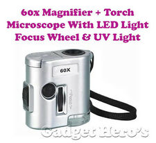 World Smallest Microscope 60X Magnifier UV & LED Light, Torch & Focusing Wheel