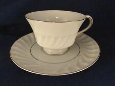 Vintage Amcrest Fine China Snow Rose Teacup&Saucer,5580-4,Japan,White,SilverTrim