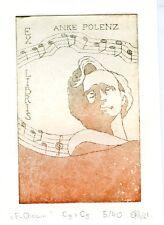 Polish Composer Frederic Chopin, Music Ex libris Etching by Ewa Rybak