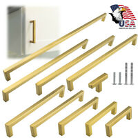 Gold Square Brushed Satin Brass Cabinet Handles Pulls Kitchen Stainless Steel