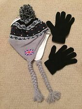 Stocking Cap with Pom Pom and Tie and  Black Gloves
