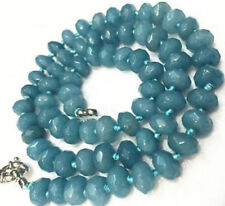 AA+ 5x8mm Brazilian Blue Aquamarine Faceted Gemstone Abacus Beads Necklace 18""
