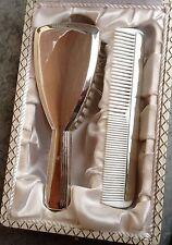 Coffret pour enfant: brosse + peigne métal argenté décor style Boréal