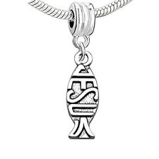 Jesus Fish Religious Charm Bead Compatible with European Snake Chain Bracelet