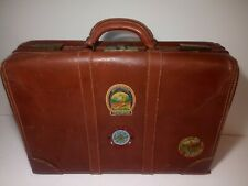 Leeds Tested LEATHER Suitcase TRAVEL HANDLED BAG Air Force stickers decal hotel