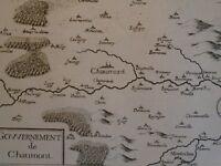 1634 Incisione carta XVII secolo - CHAMPAGNE -Governo di CHAUMONT-Tassin - NORD
