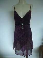 LADIES PURPLE STRAPPY FLOATY SILK TOP BY PRINCIPLES SIZE 12 UK