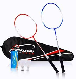 2 Pro Alloy Component Badminton Set With 3 Feather Shuttlecocks Racquet And Bag
