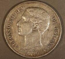 1876(76) Spain DE-M 5 Pesetas Circulated      ** FREE U.S. SHIPPING **