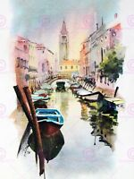 Painting Watercolour Cityscape Venice Canal Church Canvas Art Print