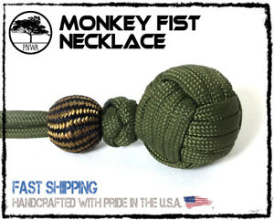 Monkey Fist Army Green Colored Paracord Necklace