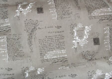 Stoff Schrift Grafik 100% Leinen Shabby Vintage Dekostoff   50 x140cm grau