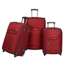 Birmingham Red 3pc Water Resistant Rugged Rolling Luggage Suitcase Travel Set