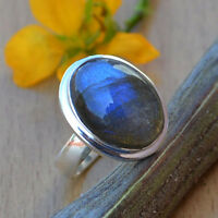 Natural Blue Fire Labradorite Gemstone 925 Sterling Silver Solitaire Ring Size 7