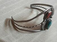 Turquoise Coral UnSigned Sterling Silver 925 Navajo Bracelet