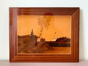 Orthodox Church Scene - Inlaid Wood Marquetry Picture Landscape Art Decor USSR