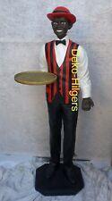 Black Boy Kellner Butler Statue Afrika Figur Skulptur Lebensgroß Groß Deko Rot