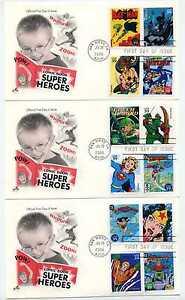 4084 Twenty DC Comic Super Heroes on five, ArtCraft FDCs