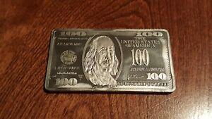 1 troy oz Aluminum $100 BILL bullion bar .999 pure FINE