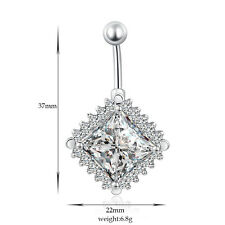 Navel Belly Bars Crystal Dangly Body Piercing Belly Button Ring Square Diamond