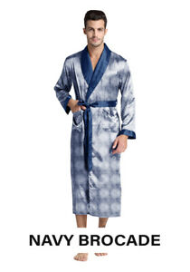 Mens Silk Satin Robe - Brocade - Famous Maker