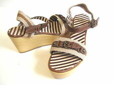 MOSCHINO TAGILA TAN LEATHER WEDGE PLATFORM SANDALS WOMAN SIZE 9 M