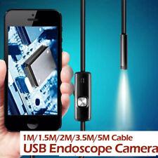 27F6 1M 7MM Android Endoscopio Boroscopio Inspección Serpiente Led Tubo Cámara De Vídeo