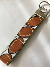 FOOTBALL KEY CHAIN RIBBON WRISTLET, KEY FOB GREEN WEBBING Free Shipping HANDMADE