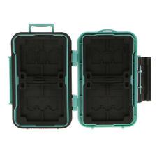 Waterproof Holder Storage Memory Card Case & 12 TF/4 CF Card Slots Green