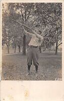 A30/ HUNTING Hunter GUN Rifle Real Photo RPPC Postcard c1910 Man Aiming 10