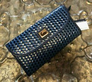DOONEY & BOURKE~Basket Weave Embossed Leather Continental Clutch Wallet~BLUE~NWT