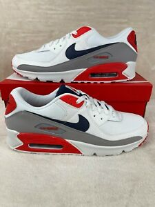 """Nike Air Max 90 """"USA"""" DB0625-101 Size 13 Red White Blue New With Box"""