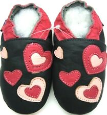 Slippers hearts black 4-5 toddler soft sole leather  shoes free shipping