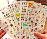 6 sheet short hair girl day day calendar diary notebook books deco PVC sticker