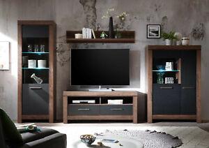 BALIN BLACK OAK MONASTERY DISPLAY UNIT LED TV CABINET COFFEE TABLE SIDEBOARD