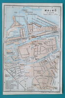 "SWEDEN Malmo City Town Plan - 1912 Baedeker Map 4"" x 6"" (10 x 15 cm)"