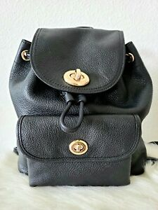 Coach black soft leather backpack