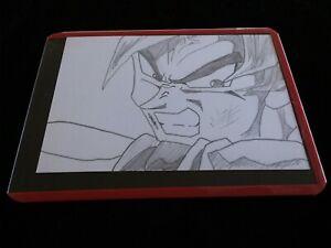 new GOKU trading card KAMEHAMEHA pencil DRAWING DRAGON Ball Z ACEO anime art fan