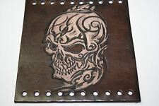 Heavy Duty Antiqued Black Leather Motorcycle Grip Covers Detailed Tribal Skull