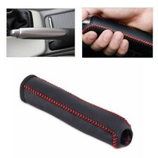 Leather Hand Brake Cover Protective Sleeve For Honda Civic 04-11 Red Stitching